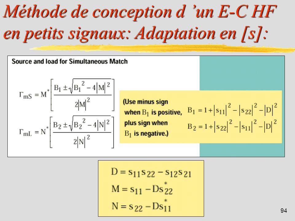 Méthode de conception d 'un E-C HF en petits signaux: Adaptation en [s]: